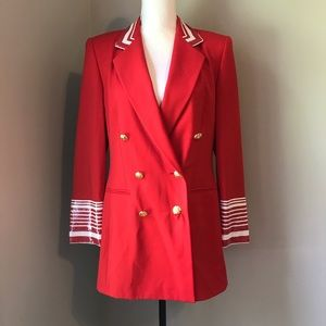 Escada Margaretha Ley sequin Red Wool Blazer 36